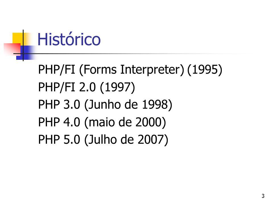 Histórico PHP/FI (Forms Interpreter) (1995) PHP/FI 2.0 (1997)