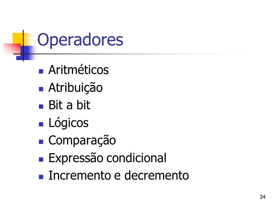 Operadores Aritméticos Atribuição Bit a bit Lógicos Comparação