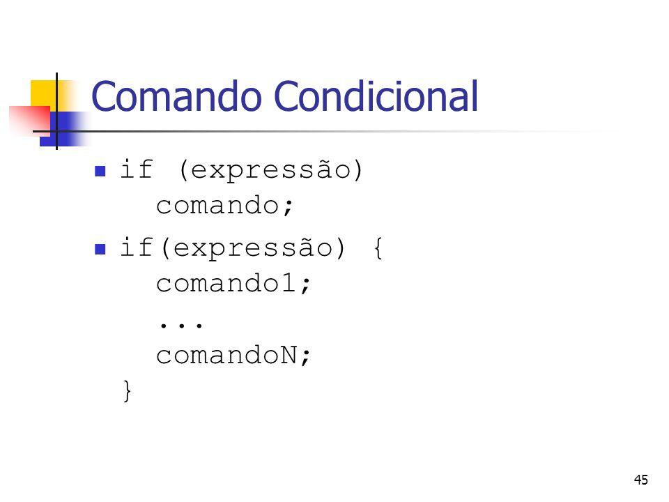 Comando Condicional if (expressão) comando;