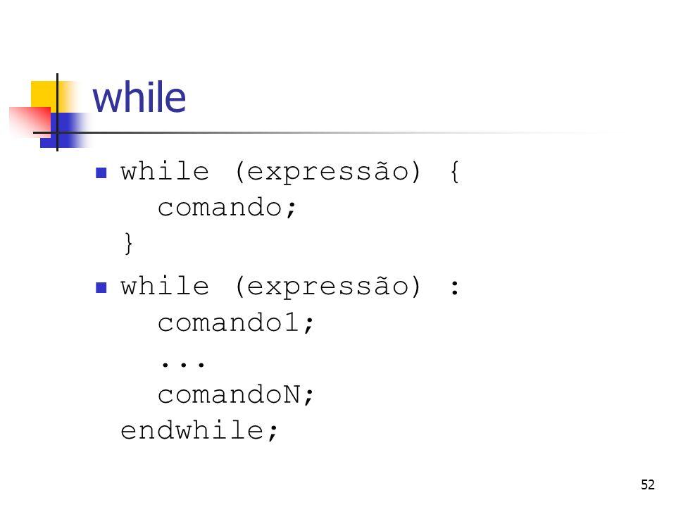 while while (expressão) { comando; }