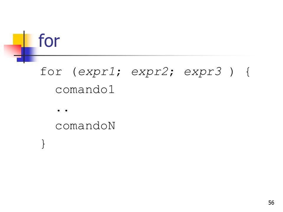for for (expr1; expr2; expr3 ) { comando1 .. comandoN }