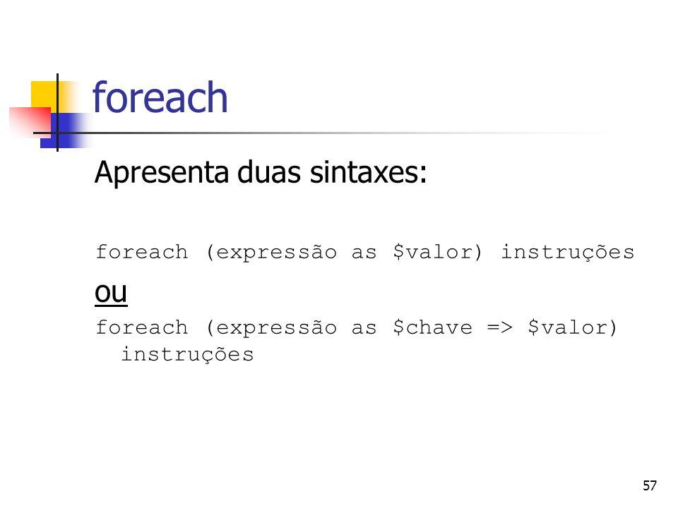 foreach Apresenta duas sintaxes: ou