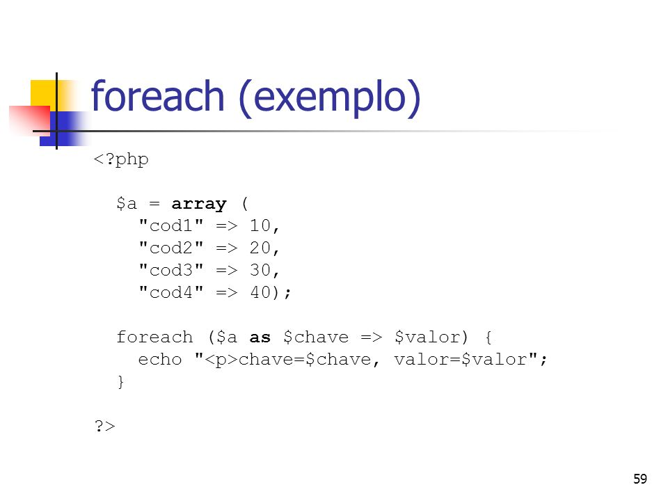 foreach (exemplo) < php $a = array ( cod1 => 10,