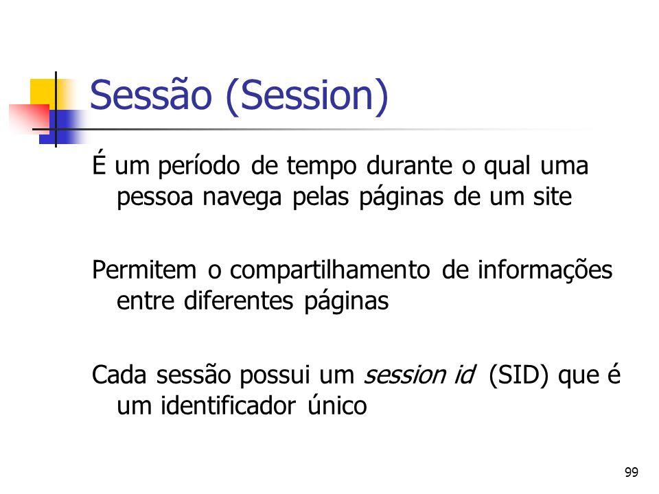 Sessão (Session) É um período de tempo durante o qual uma pessoa navega pelas páginas de um site.