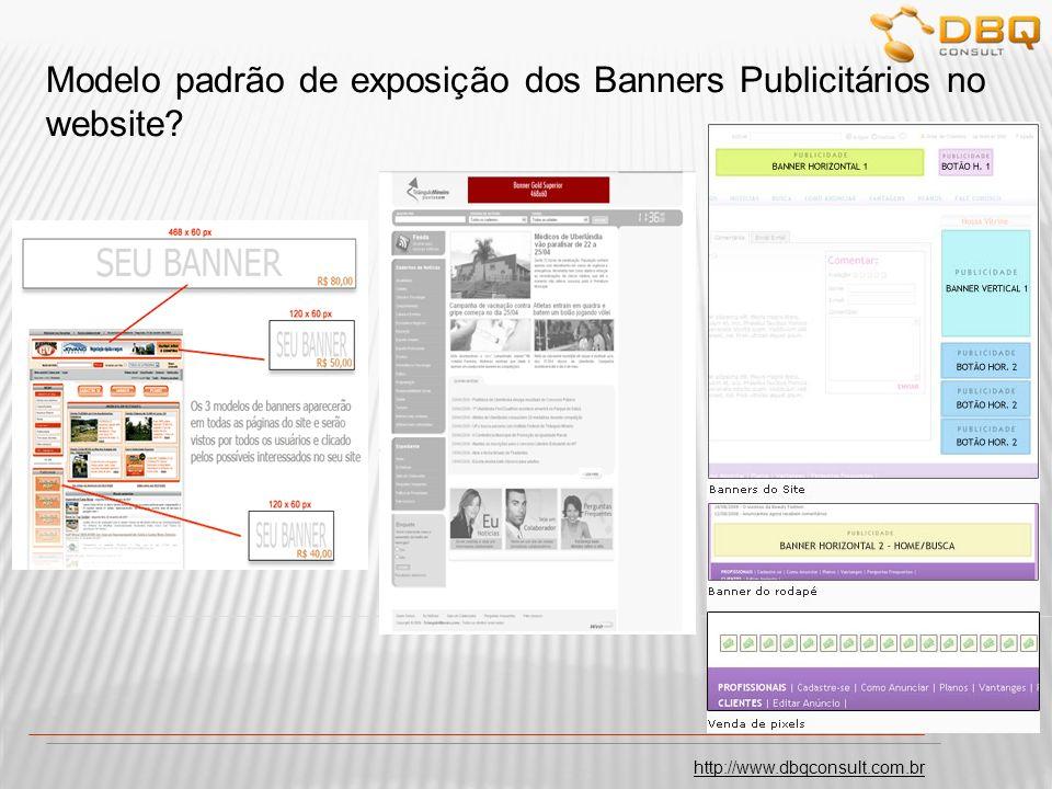 Modelo padrão de exposição dos Banners Publicitários no website