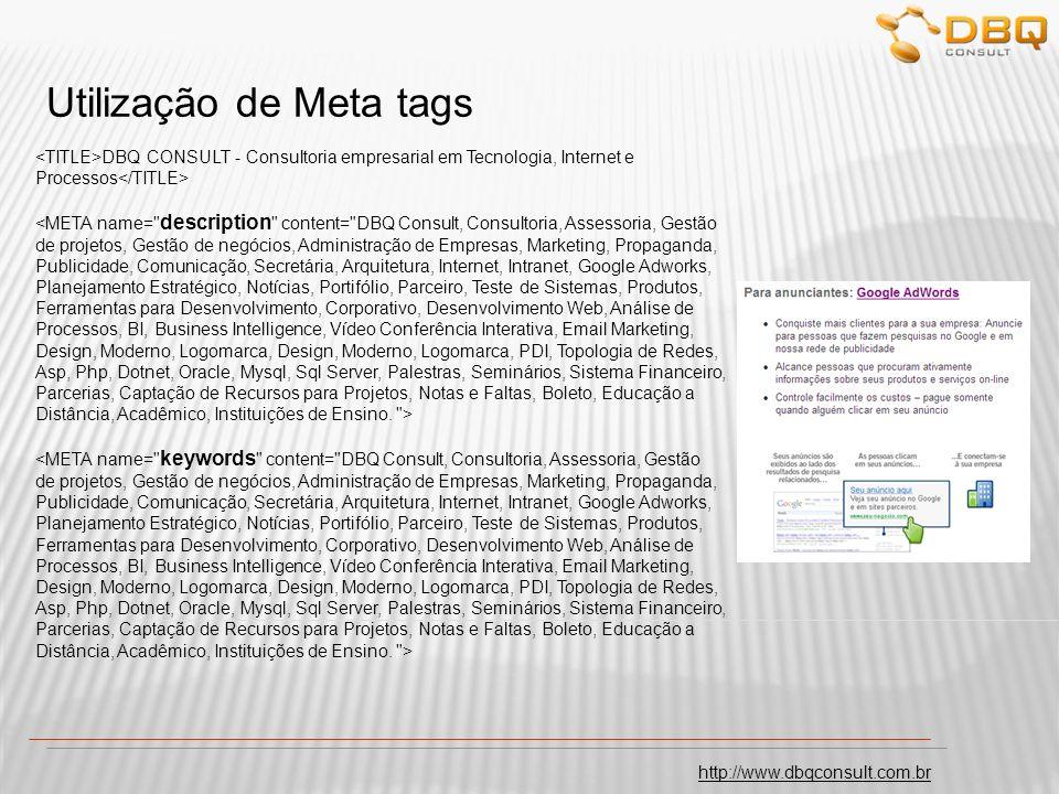 Utilização de Meta tags