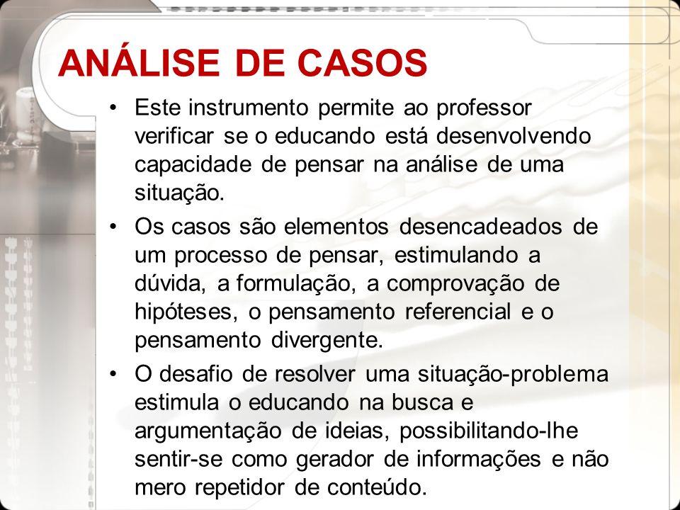 ANÁLISE DE CASOSEste instrumento permite ao professor verificar se o educando está desenvolvendo capacidade de pensar na análise de uma situação.