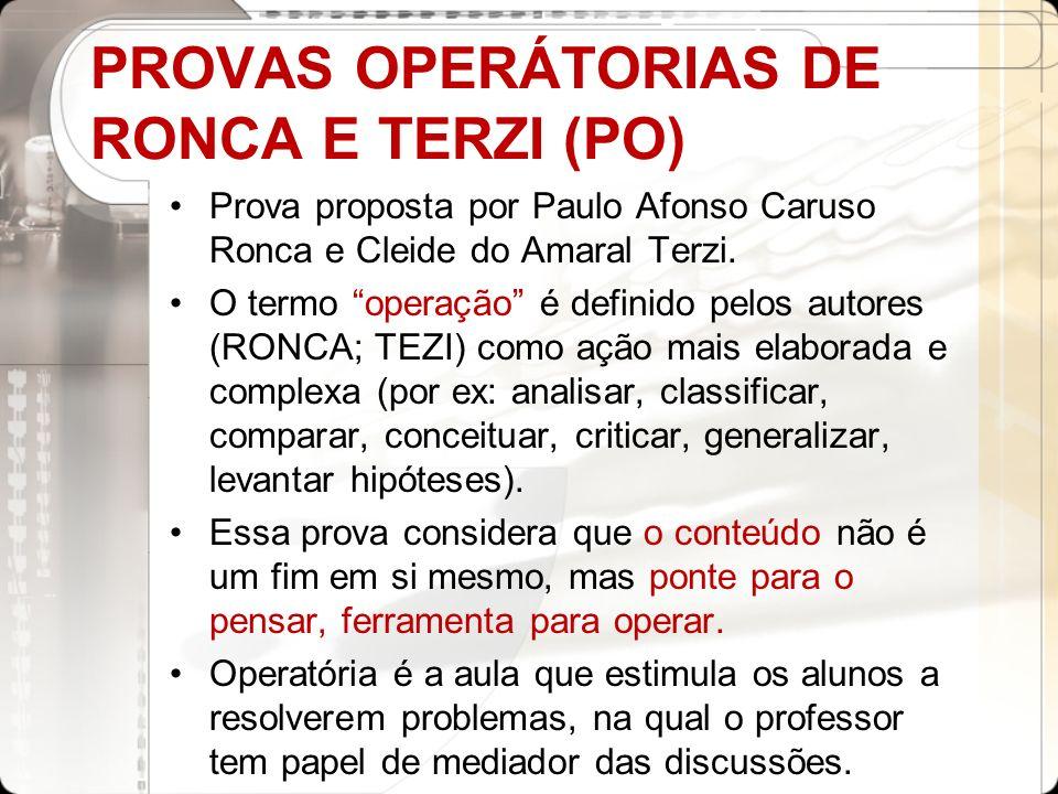 PROVAS OPERÁTORIAS DE RONCA E TERZI (PO)
