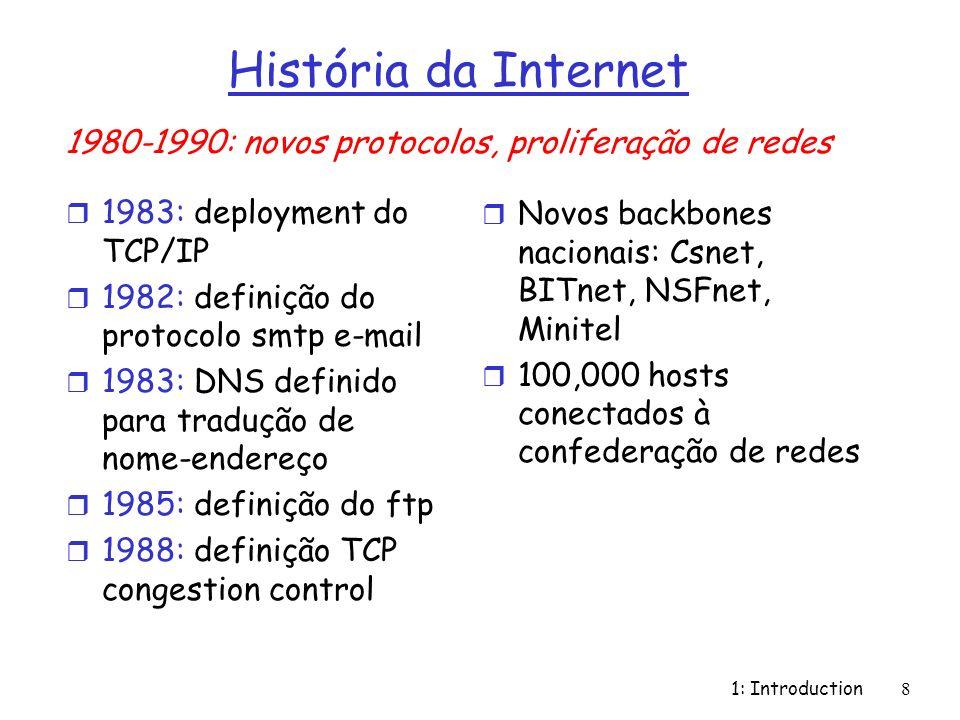 História da Internet1980-1990: novos protocolos, proliferação de redes. 1983: deployment do TCP/IP.