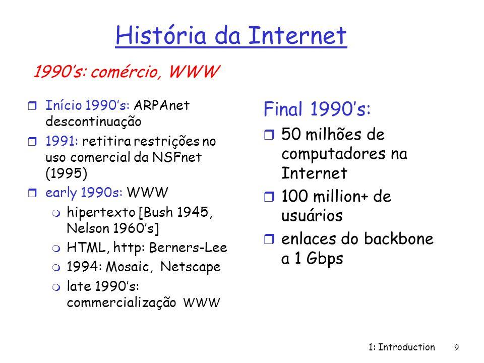 História da Internet Final 1990's: 1990's: comércio, WWW