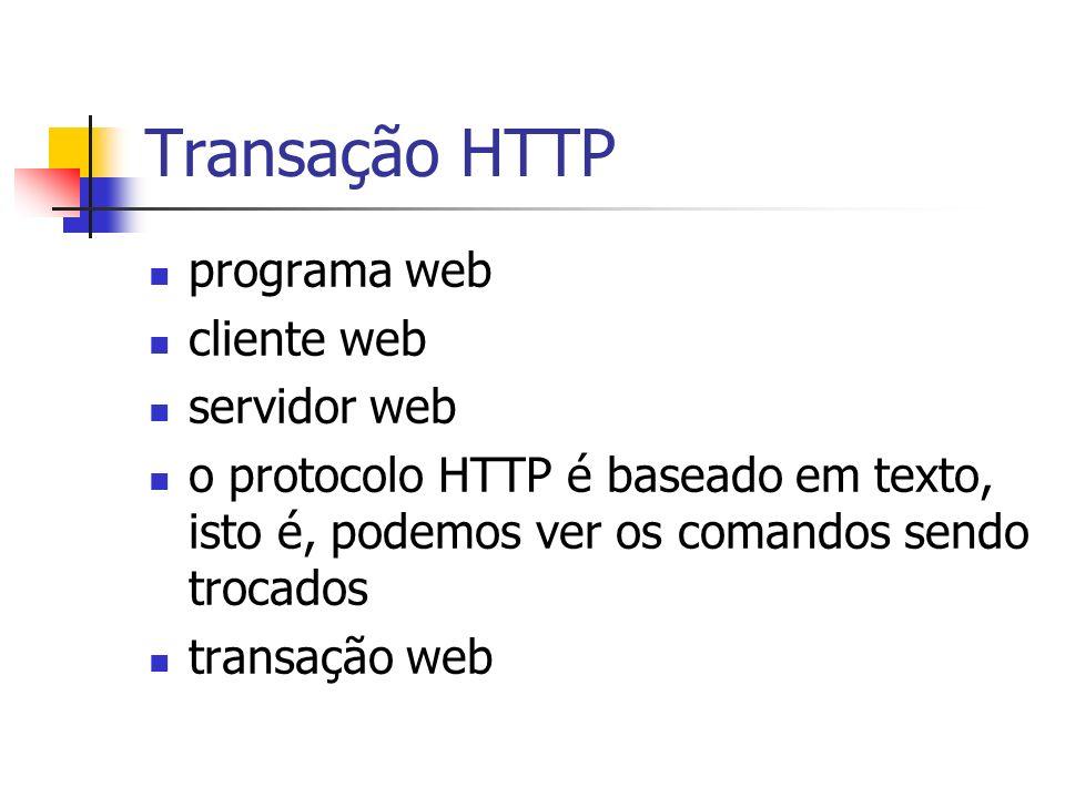 Transação HTTP programa web cliente web servidor web