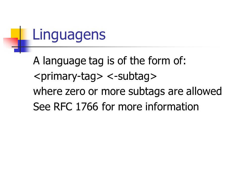 Linguagens A language tag is of the form of:
