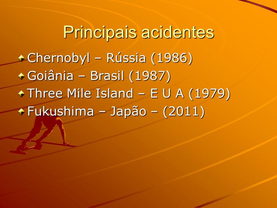 Principais acidentes Chernobyl – Rússia (1986) Goiânia – Brasil (1987)