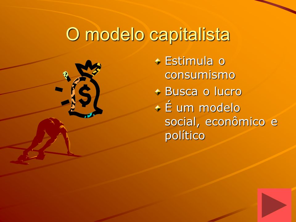 O modelo capitalista Estimula o consumismo Busca o lucro