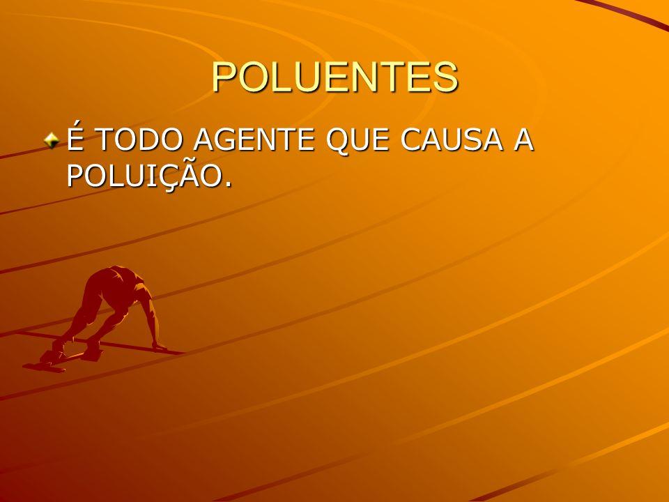POLUENTES É TODO AGENTE QUE CAUSA A POLUIÇÃO.