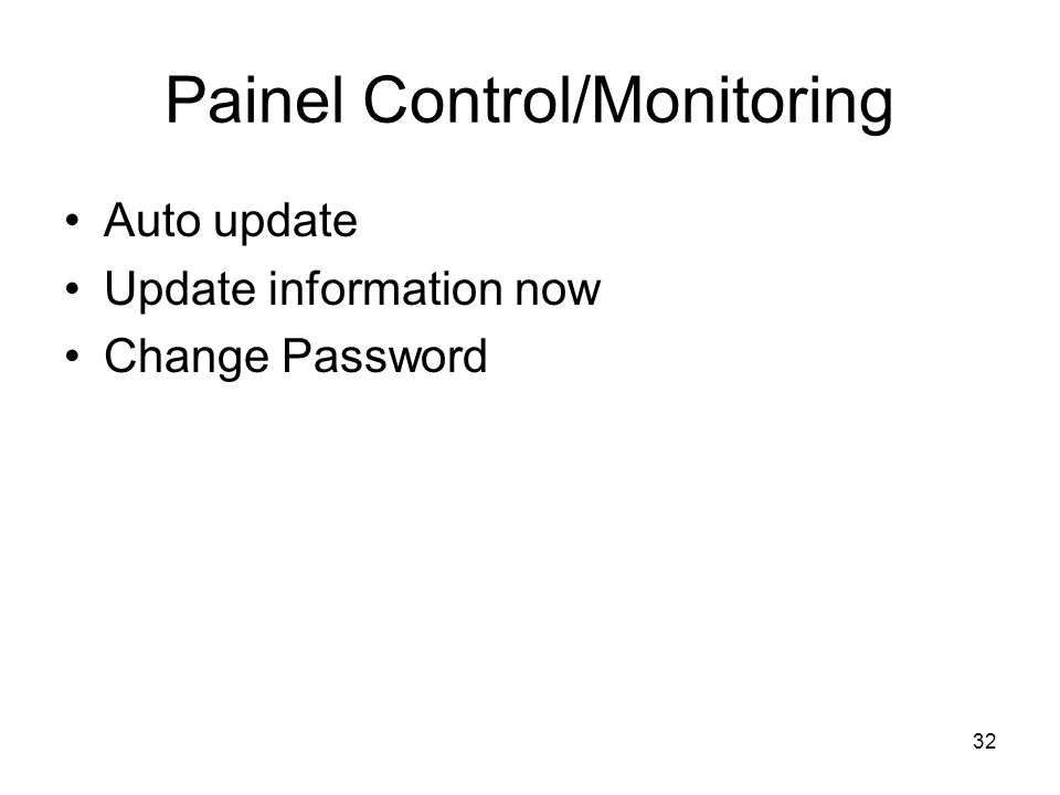 Painel Control/Monitoring