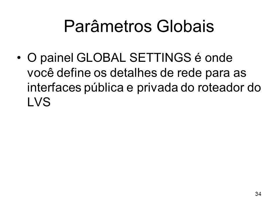 Parâmetros Globais O painel GLOBAL SETTINGS é onde você define os detalhes de rede para as interfaces pública e privada do roteador do LVS.
