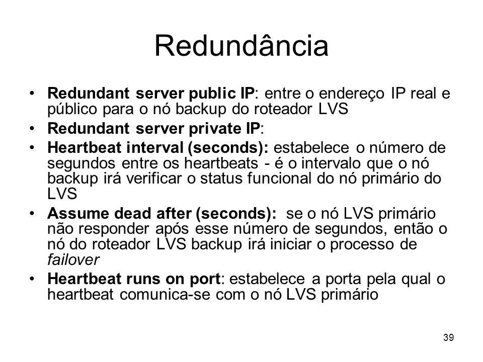 Redundância Redundant server public IP: entre o endereço IP real e público para o nó backup do roteador LVS.