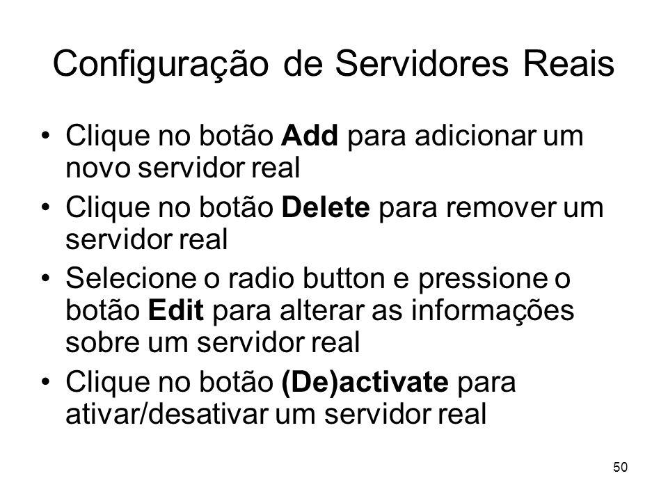 Configuração de Servidores Reais