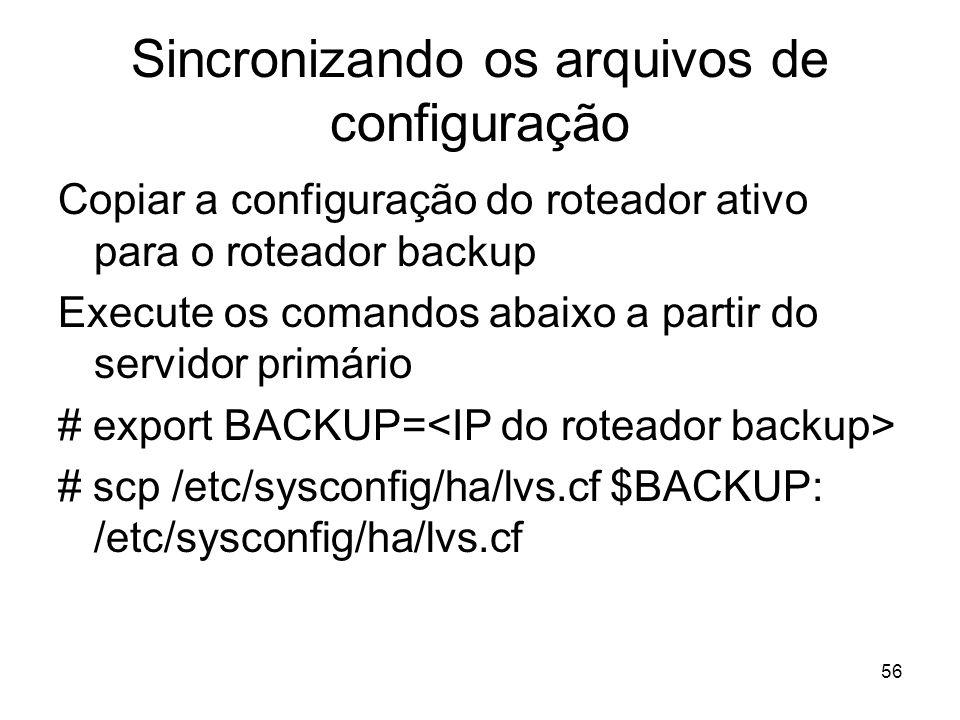 Sincronizando os arquivos de configuração