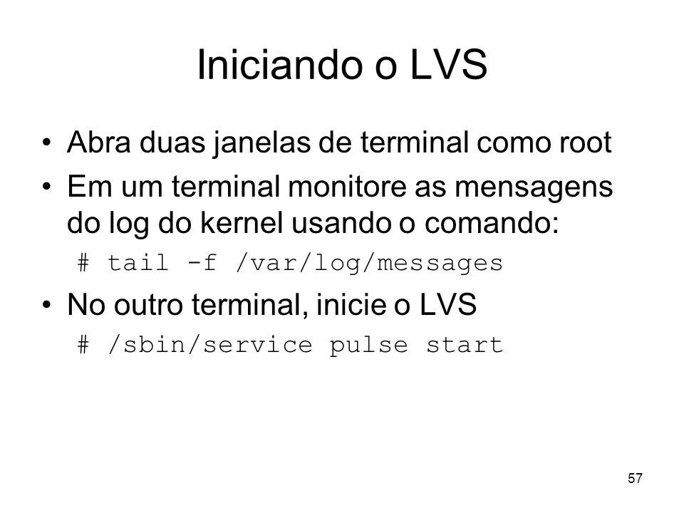 Iniciando o LVS Abra duas janelas de terminal como root