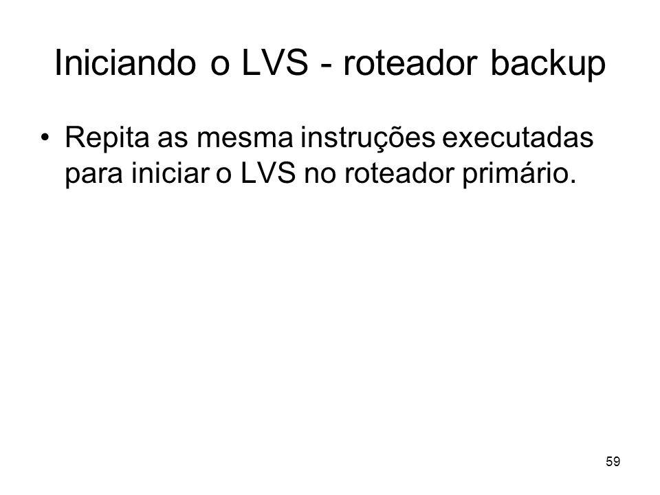 Iniciando o LVS - roteador backup