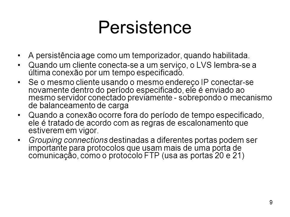 Persistence A persistência age como um temporizador, quando habilitada.