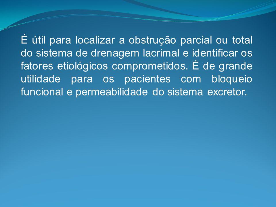 É útil para localizar a obstrução parcial ou total do sistema de drenagem lacrimal e identificar os fatores etiológicos comprometidos.