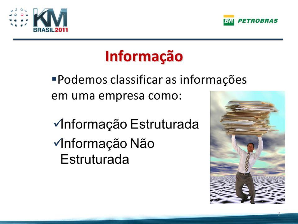Informação Podemos classificar as informações em uma empresa como: