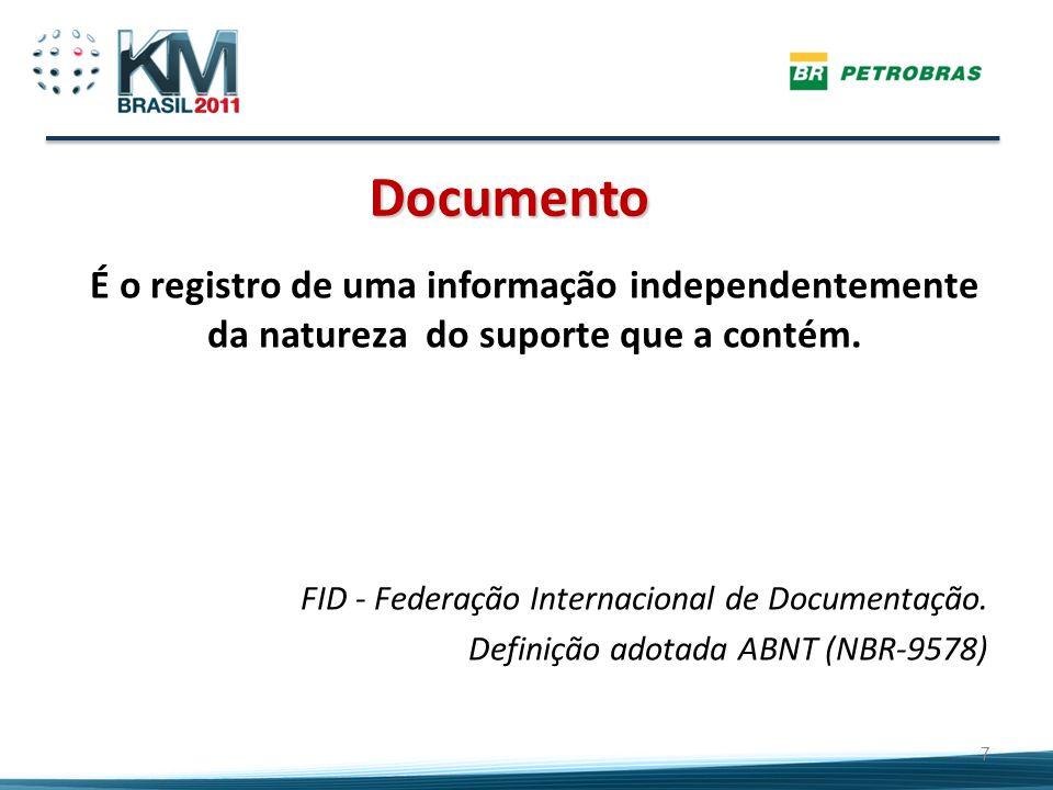 Documento É o registro de uma informação independentemente da natureza do suporte que a contém. FID - Federação Internacional de Documentação.