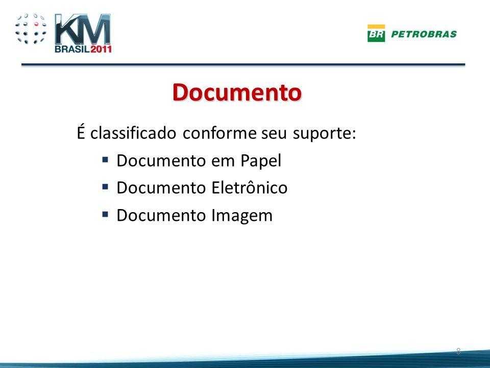 Documento É classificado conforme seu suporte: Documento em Papel