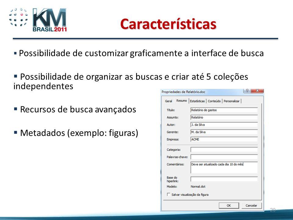Características Possibilidade de customizar graficamente a interface de busca.