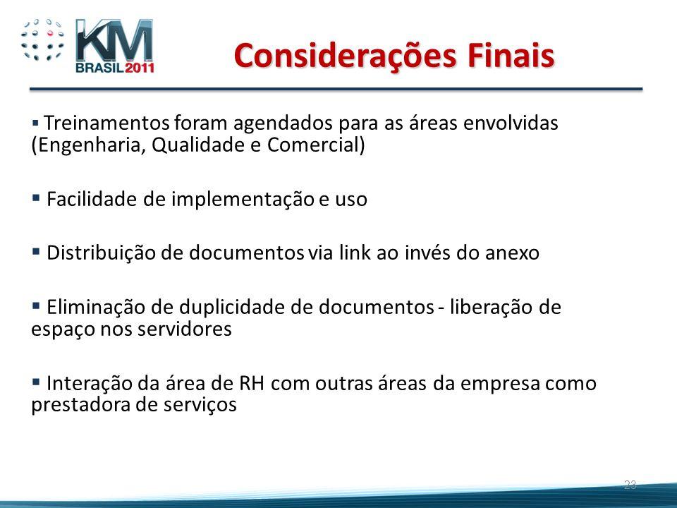 Considerações Finais Facilidade de implementação e uso