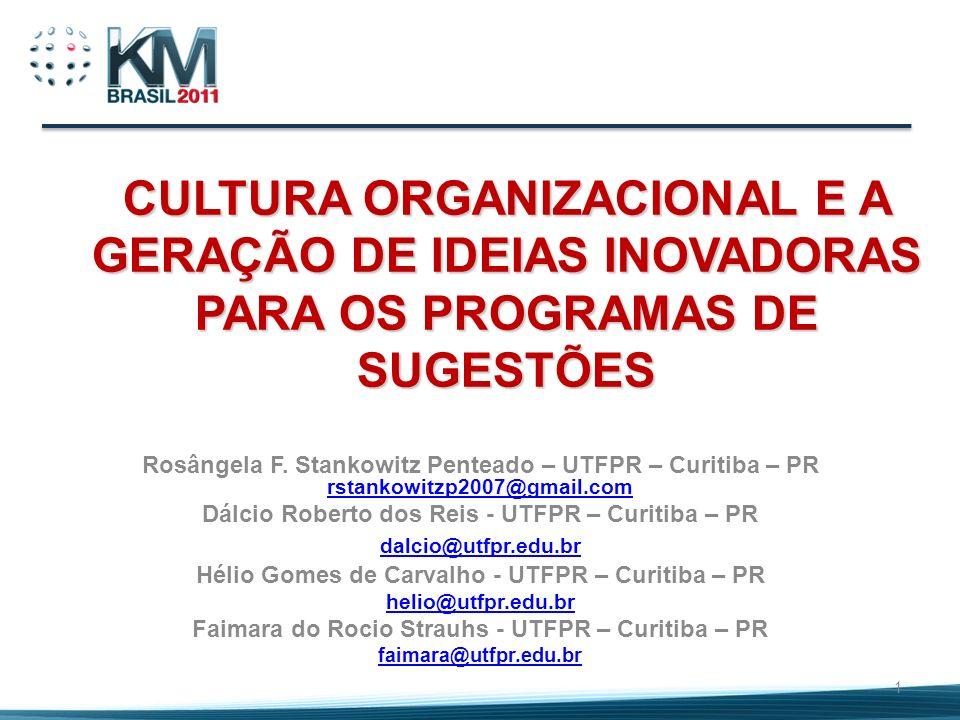 CULTURA ORGANIZACIONAL E A GERAÇÃO DE IDEIAS INOVADORAS PARA OS PROGRAMAS DE SUGESTÕES