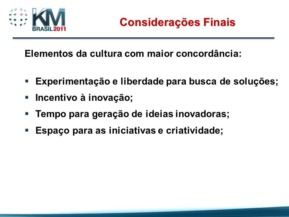 Considerações Finais Elementos da cultura com maior concordância: