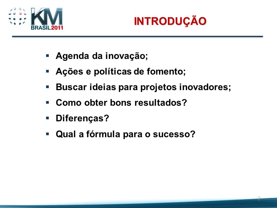 INTRODUÇÃO Agenda da inovação; Ações e políticas de fomento;