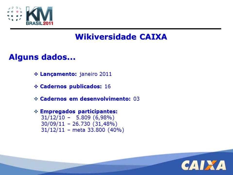 Wikiversidade CAIXA Alguns dados... Lançamento: janeiro 2011
