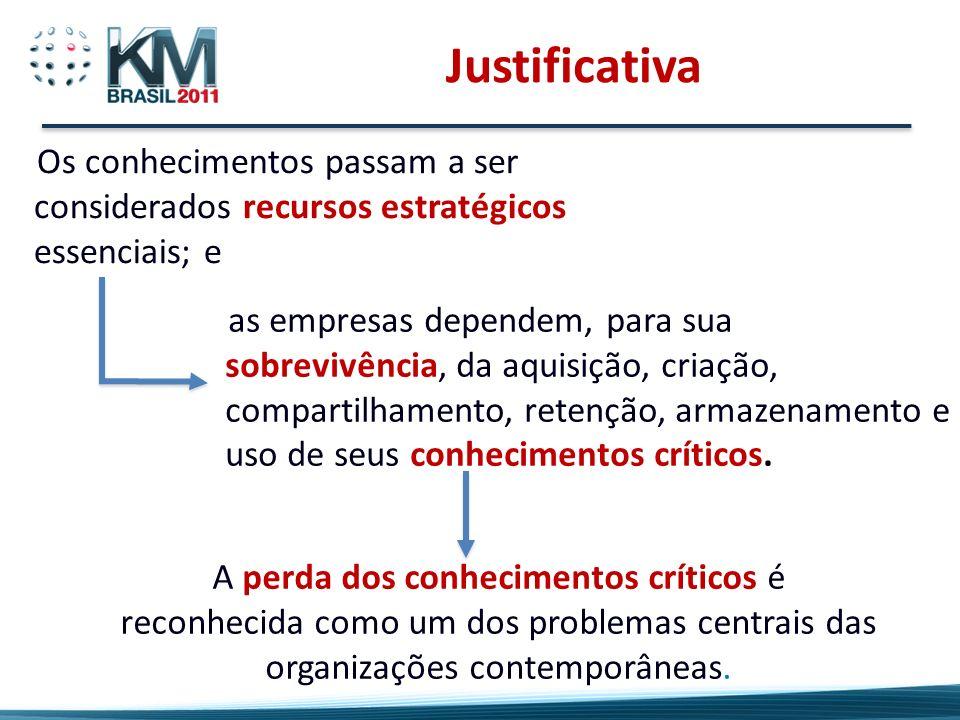 Justificativa Os conhecimentos passam a ser considerados recursos estratégicos essenciais; e.