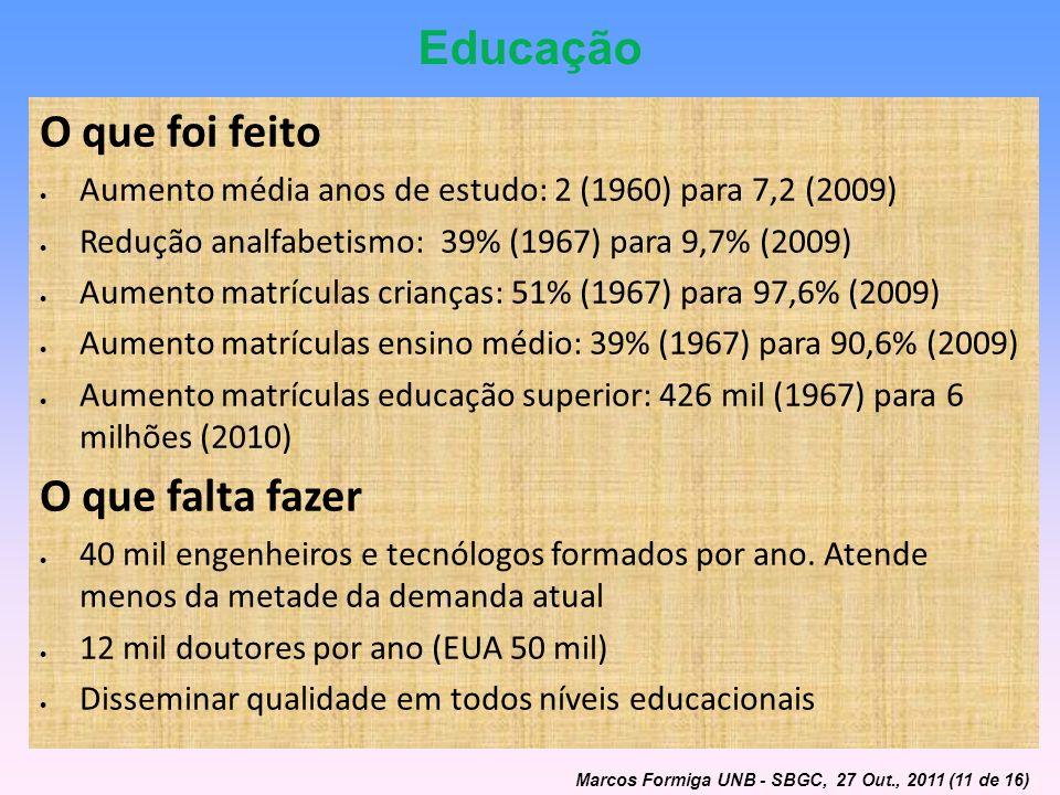Educação O que foi feito O que falta fazer