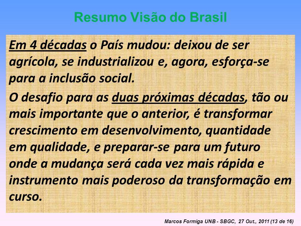 Resumo Visão do Brasil Em 4 décadas o País mudou: deixou de ser agrícola, se industrializou e, agora, esforça-se para a inclusão social.