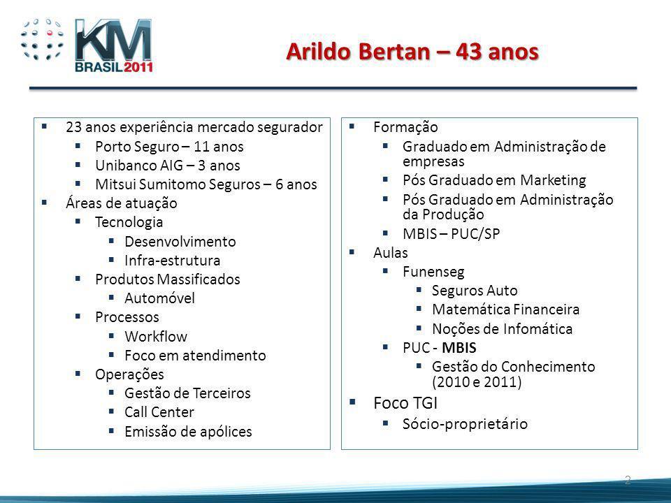 Arildo Bertan – 43 anos Foco TGI Sócio-proprietário