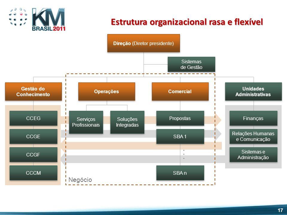 Estrutura organizacional rasa e flexível