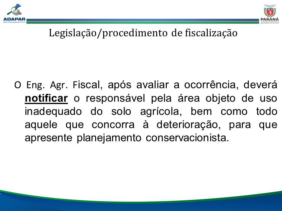 Legislação/procedimento de fiscalização