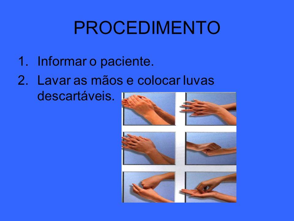 PROCEDIMENTO Informar o paciente.