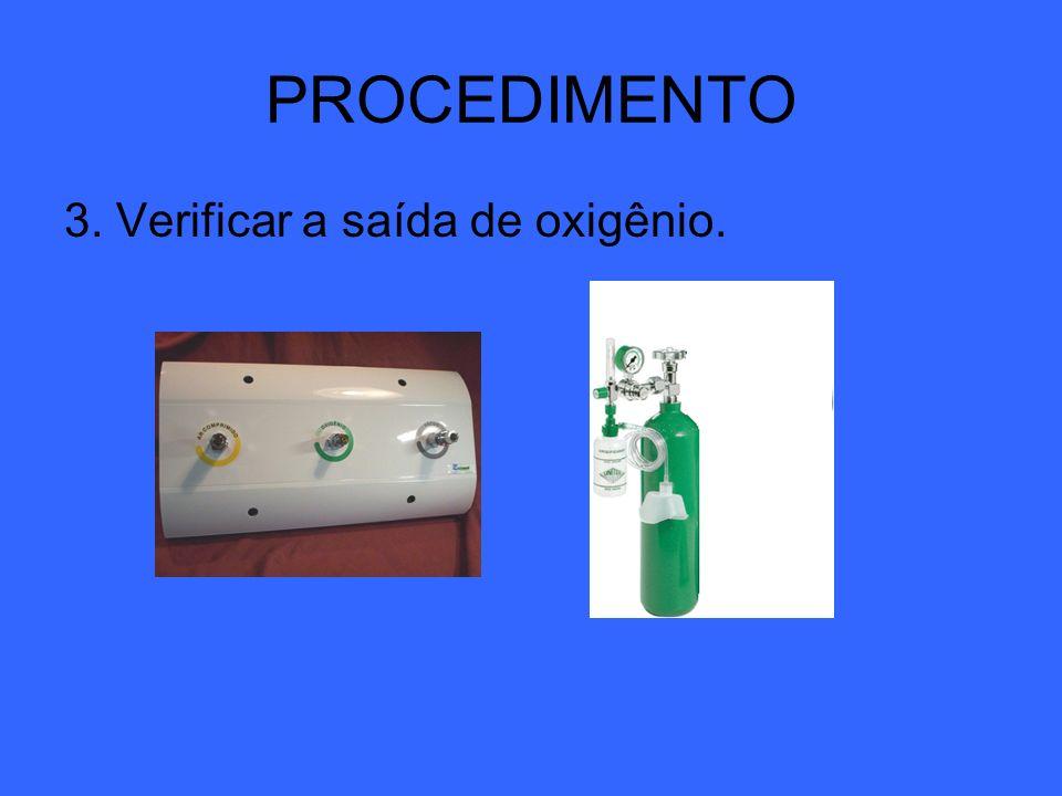PROCEDIMENTO 3. Verificar a saída de oxigênio.
