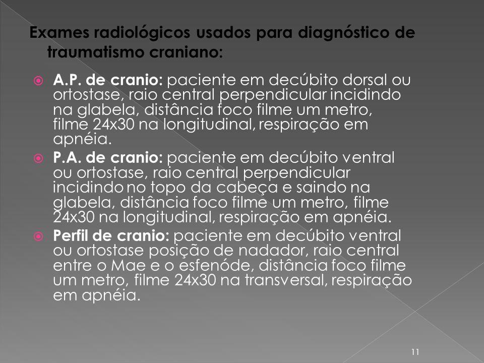 Exames radiológicos usados para diagnóstico de traumatismo craniano: