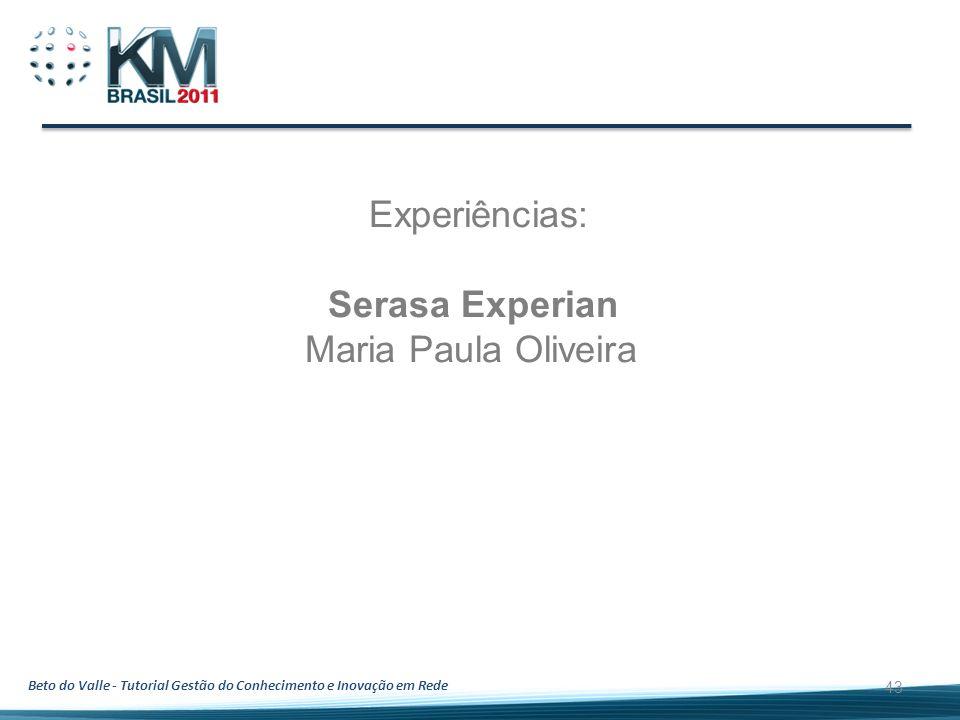 Experiências: Serasa Experian Maria Paula Oliveira