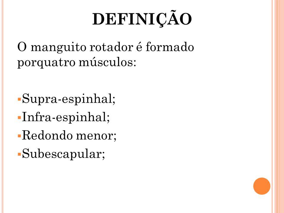 DEFINIÇÃO O manguito rotador é formado porquatro músculos: