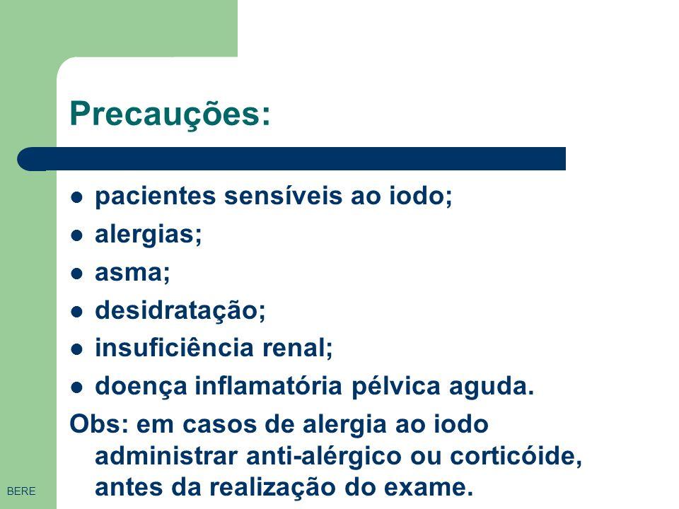 Precauções: pacientes sensíveis ao iodo; alergias; asma; desidratação;