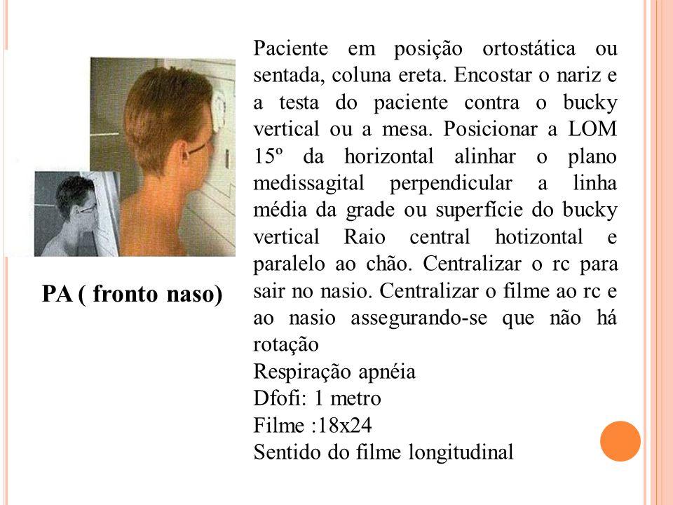 Paciente em posição ortostática ou sentada, coluna ereta